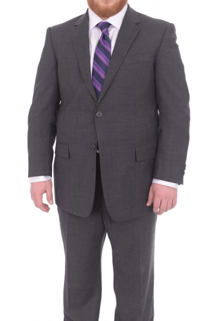 Mens Portly Fit Gray Checked Pattern 2 Button Super 130's Wool Suit