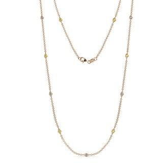 TriJewels Sapphire Lab Grown Diamond Womens Station Necklace 14K Gold (Yellow Sapphire - Rose)
