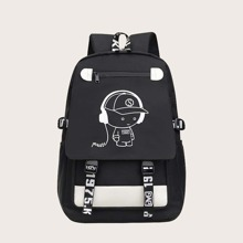 Men Cartoon Graphic Large Capacity Backpack
