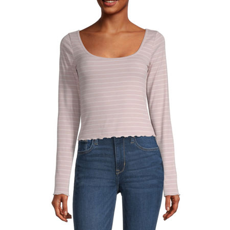 Arizona Juniors-Womens Scoop Neck Long Sleeve T-Shirt, Xx-large , Pink