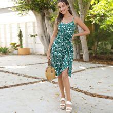 Cami Kleid mit Blumen Muster, Kordelzug vorn, niedriger Rueckseite und Raffungsaum