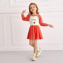 Toddler Girls Letter Graphic Sweatshirt Dress