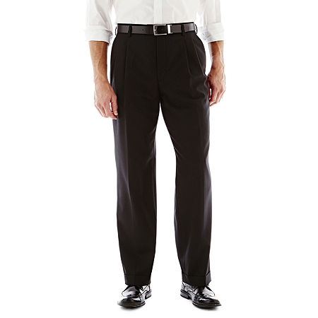 Stafford Travel Pleated Suit Pants - Classic, 32 32, Black