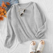 Drop Shoulder Fluffy Knit Oversized Sweater
