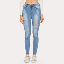 Stone Wash High Stretch Distressed Skinny Jeans