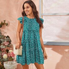 Ruffle Armhole Tiered Hem Ditsy Floral Dress
