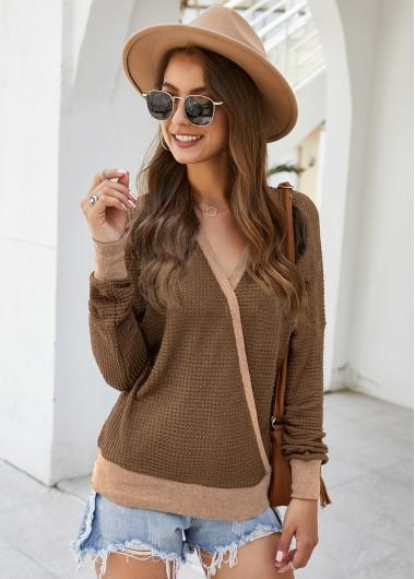Trendy Long Sleeve V Neck Contrast Panel Sweater - L