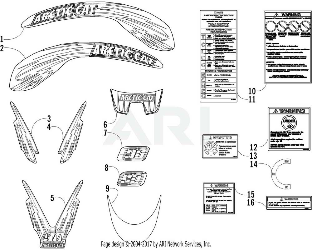 Arctic Cat OEM 0411-548 Decal Graphic Front Right Hand (Fender Red)