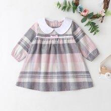 Kleid mit Farbblock und Karo Muster