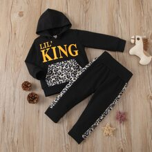 Baby Boy Letter Graphic Hoodie With Sweatpants