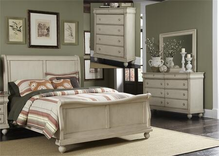 Rustic Traditions II Collection 689-BR-QSLDMC 4-Piece Bedroom Set with Queen Sleigh Bed  Dresser  Mirror and Chest in Rustic White