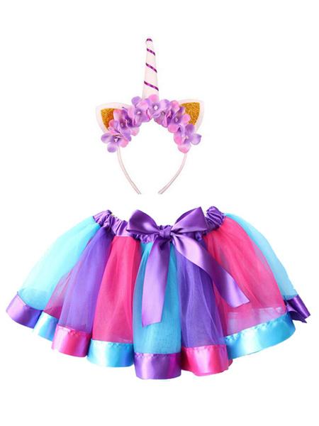Milanoo Disfraz de niños Halloween Minifalda con banda para la cabeza con estampado de disfraz de Halloween unicornio para niñas 2020 Disfraz Carnaval