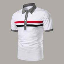 Maenner Polo Shirt mit Streifen und Kontrast Kragen