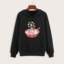 Soup & Letter Graphic Drawstring Hoodie