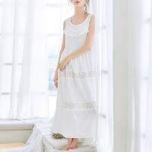 Eyelet Embroidery Ruffle Trim Night Dress