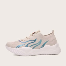 Lace Up Decor Flame Pattern Knit Sneakers