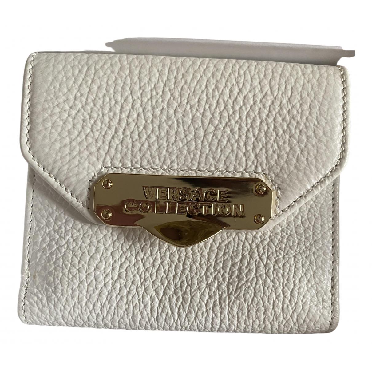 Versace - Portefeuille   pour femme en cuir - blanc