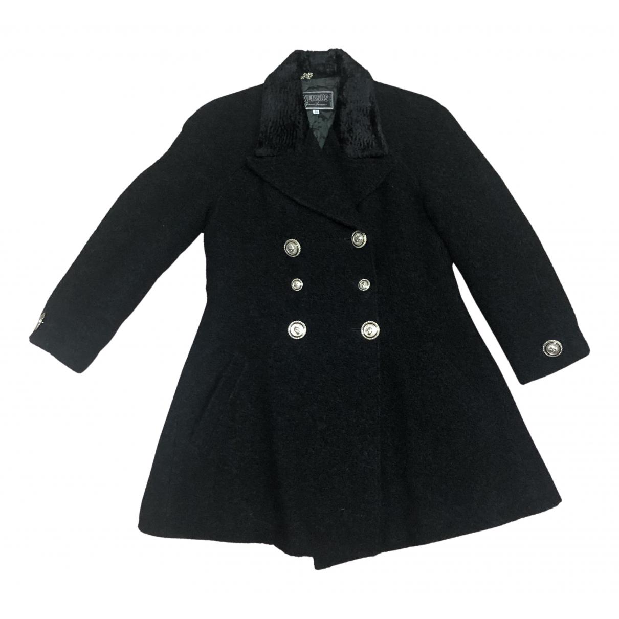 Versus - Manteau   pour femme en laine - noir