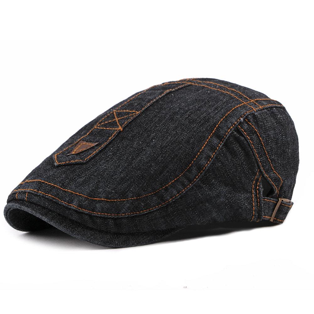 Mens Solid Color Denim Cap Breathable Casual Wild Vogue Adjustable Sunscreen Beret Cap