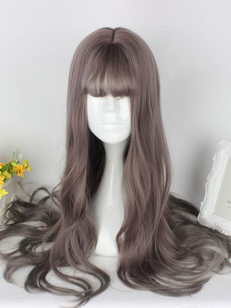 Milanoo Dulce Lolita pelucas pelucas rizadas de pelo sintetico largo Rubio flequillo Blunt