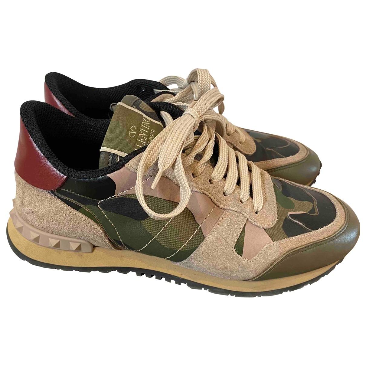 Valentino Garavani \N Sneakers in  Khaki Leder