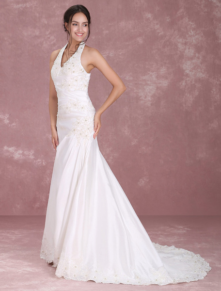 Milanoo White Halter V-Neck Embroidery Beaded Taffeta Wedding Dress