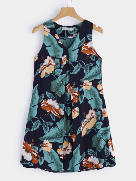 Yoins Black Random Floral Print V-neck Sleeveless Loose Waist Mini Dress