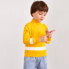 Toddler Boys Colorblock Turtleneck Sweater