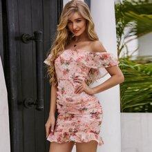 Eilly Bazar Schulterfreies Kleid mit Schosschen, Ruesche und Blumen Muster