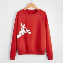 Christmas Deer Graphic Sweatshirt