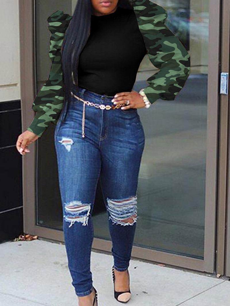 Ericdress African Fashion Standard Round Neck Long Sleeve Slim T-Shirt