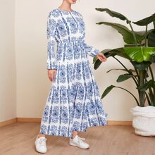 Mehrschichtiges Maxi Kleid mit Blumen Muster