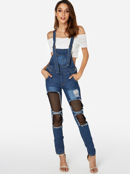 Yoins Blue Fishnet Random Ripped Details Overall Outfits