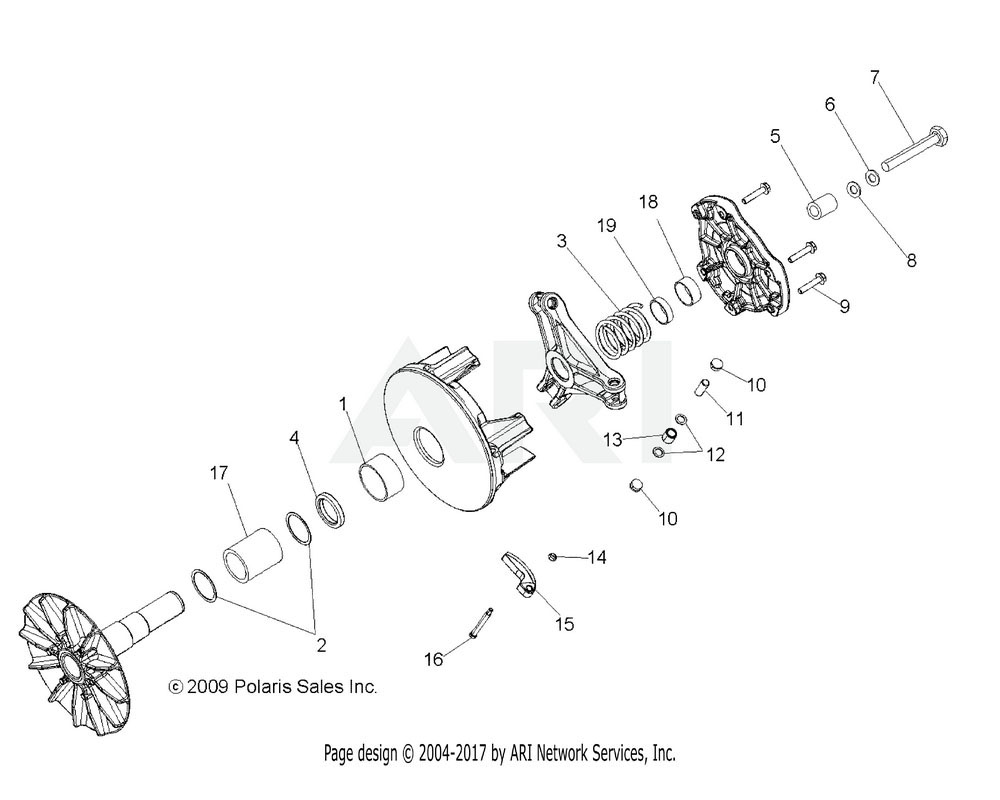 Polaris OEM 1322896 Asm., Drive Clutch | [Incl. All Less 3, 5-8, 15][Built 9/30/09 and Before]