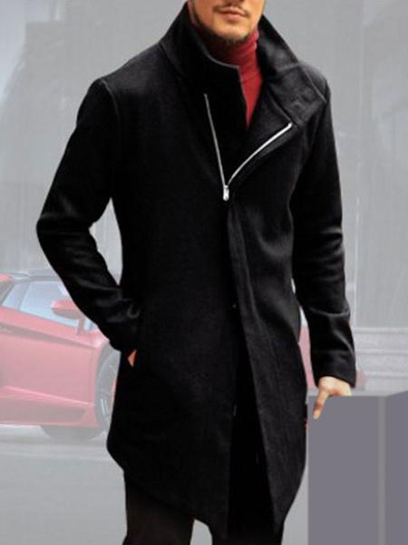 Milanoo Men's Coats Irregular High Collar Fashion Overcoat for Winter