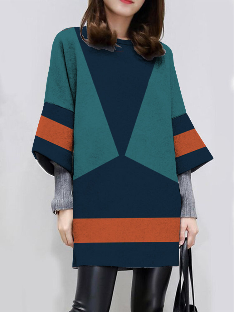 Casual Contrast Color Long Sleeve O-neck Dress For Women