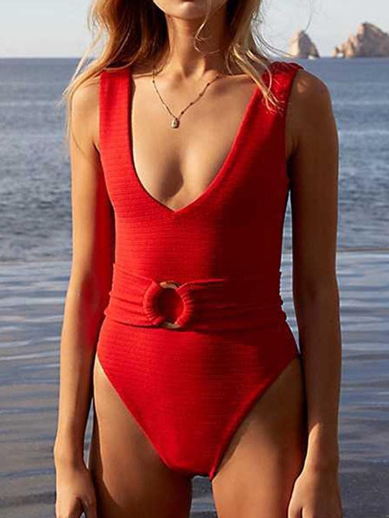 Ericdress Plain One Piece Beach Swimwear