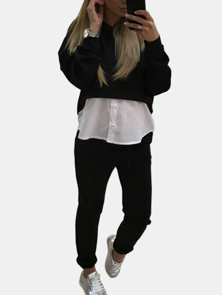 Yoins Active Crop Top & Middle Waisted Leggings in Black