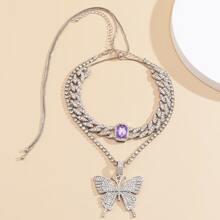 2 piezas collar con diseño de mariposa con diamante de imitacion