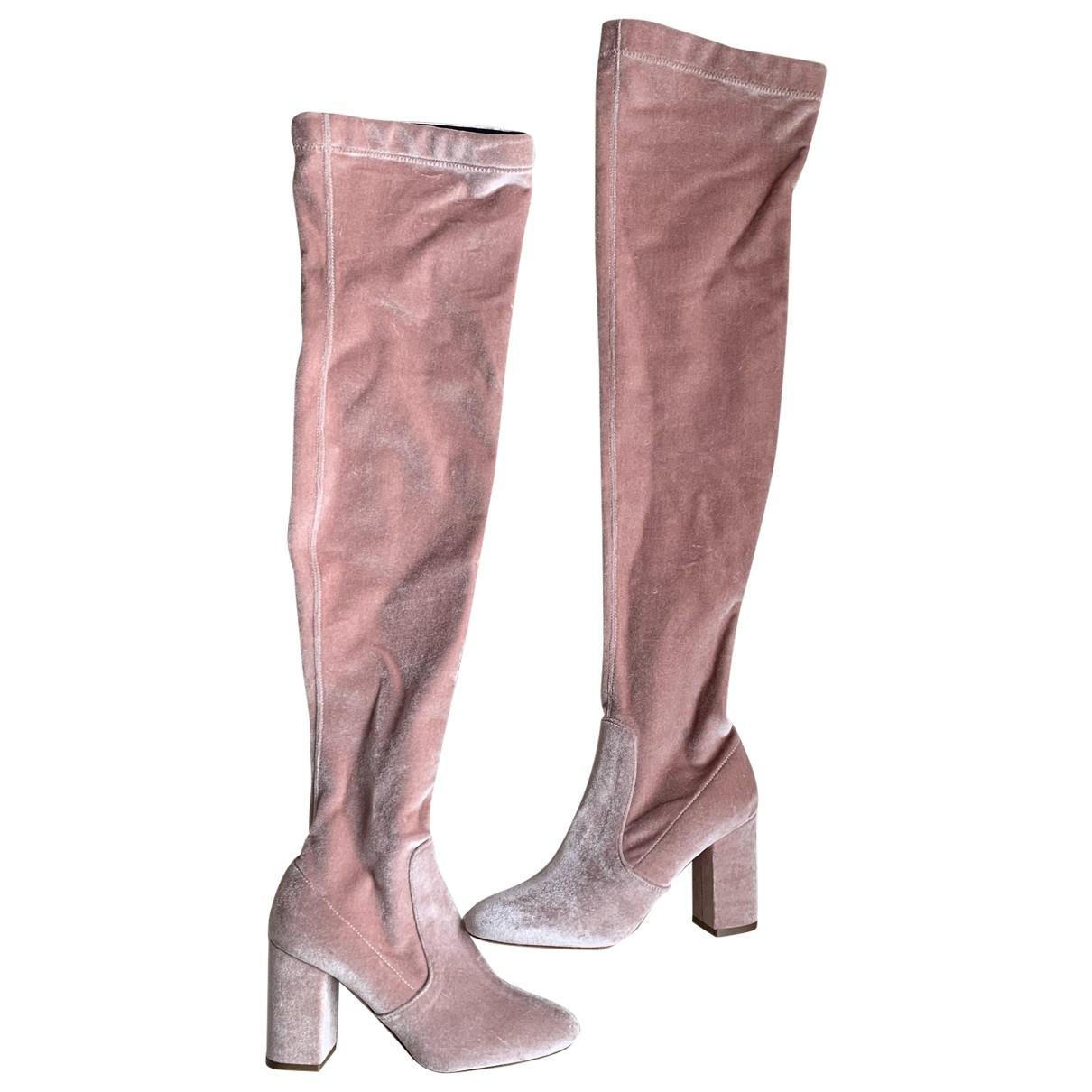 Aquazzura - Bottes   pour femme en velours - rose