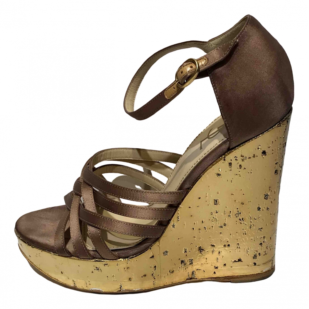 Yves Saint Laurent \N Sandalen in  Metallic Kautschuk