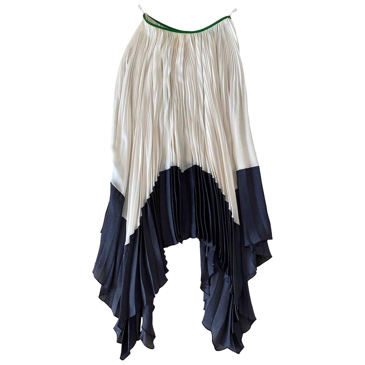 Celine \N White / Black Silk skirt for Women 38 - 40 FR