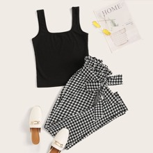 Rib-knit Tank Top & Paperbag Waist Belted Houndstooth Pants Set