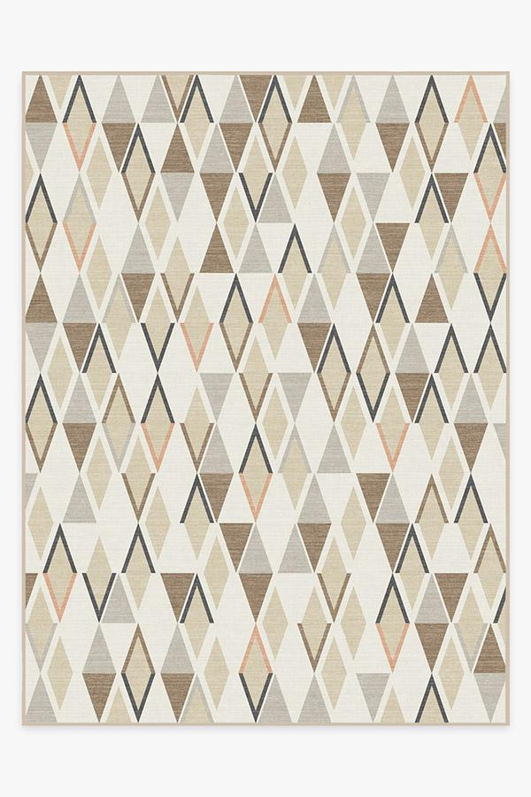 Washable Rug Cover | Pico Diamond Sandstone Rug | Stain-Resistant | Ruggable | 9'x12'