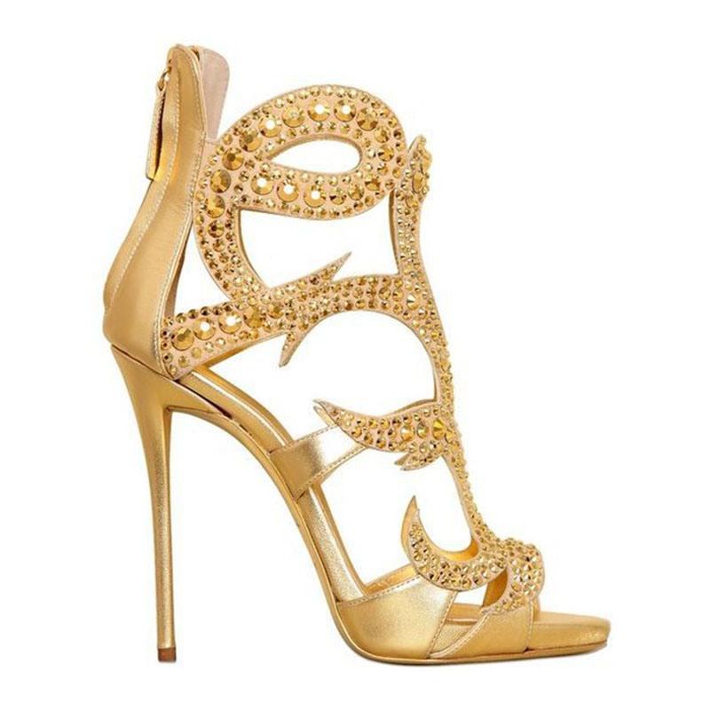 Ericdress Open Toe Stiletto Heel Zipper Hollow Sandals