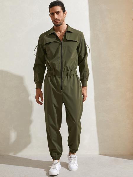 Yoins Men Vintage Streetwear Multi-pocket Zip Front Utility Overalls Jumpsuit