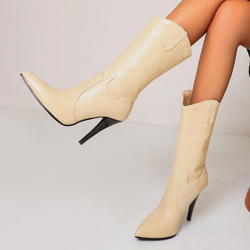 Ericdress Stiletto Heel Pointed Toe Slip-On Short Floss Women's Boots