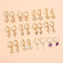 12pairs Shell Round Drop Earrings