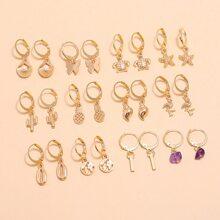 12 Paare Ohrringe mit Schale Dekor
