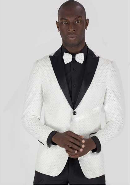 White/Silver 2 Button Peak Lapel Jacket With Matching Bowtie